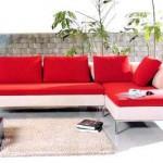 Kırmızı beyaz köşe koltuk modeli