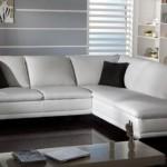 Modern beyaz deri köşe takımları