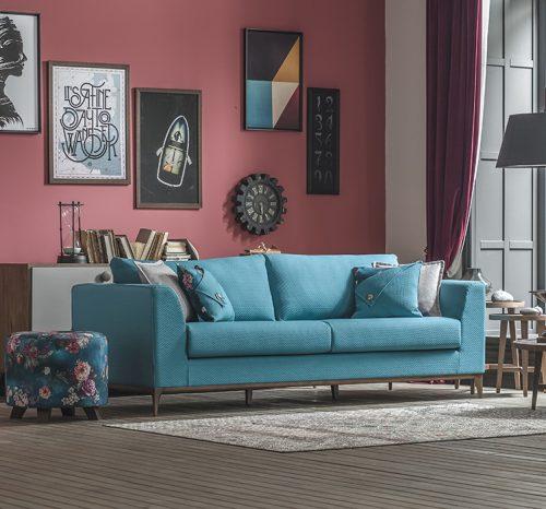 mavi modern koltuk takımı